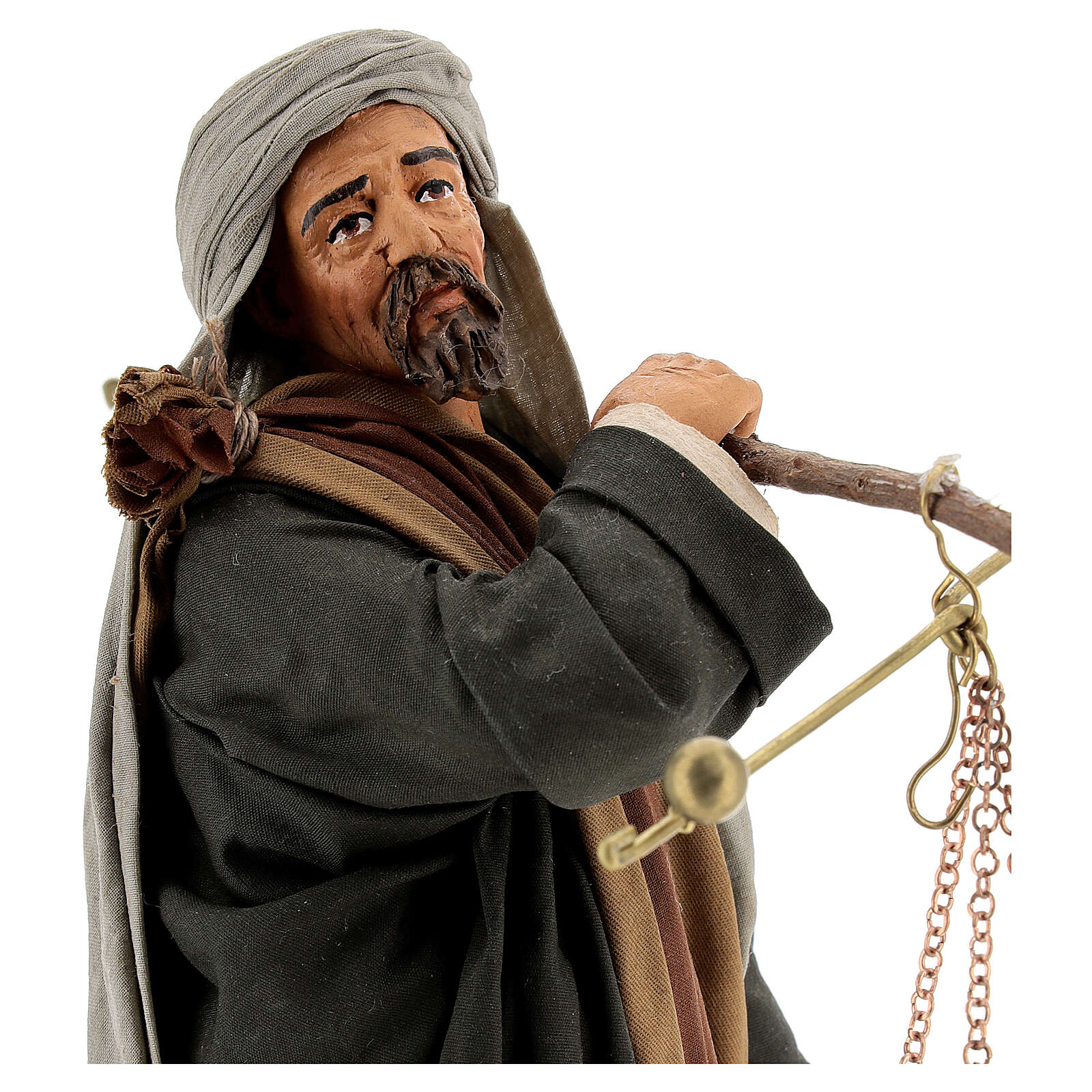Pastor com balança e cesto para presépio napolitano com figuras de altura média 30 cm 4