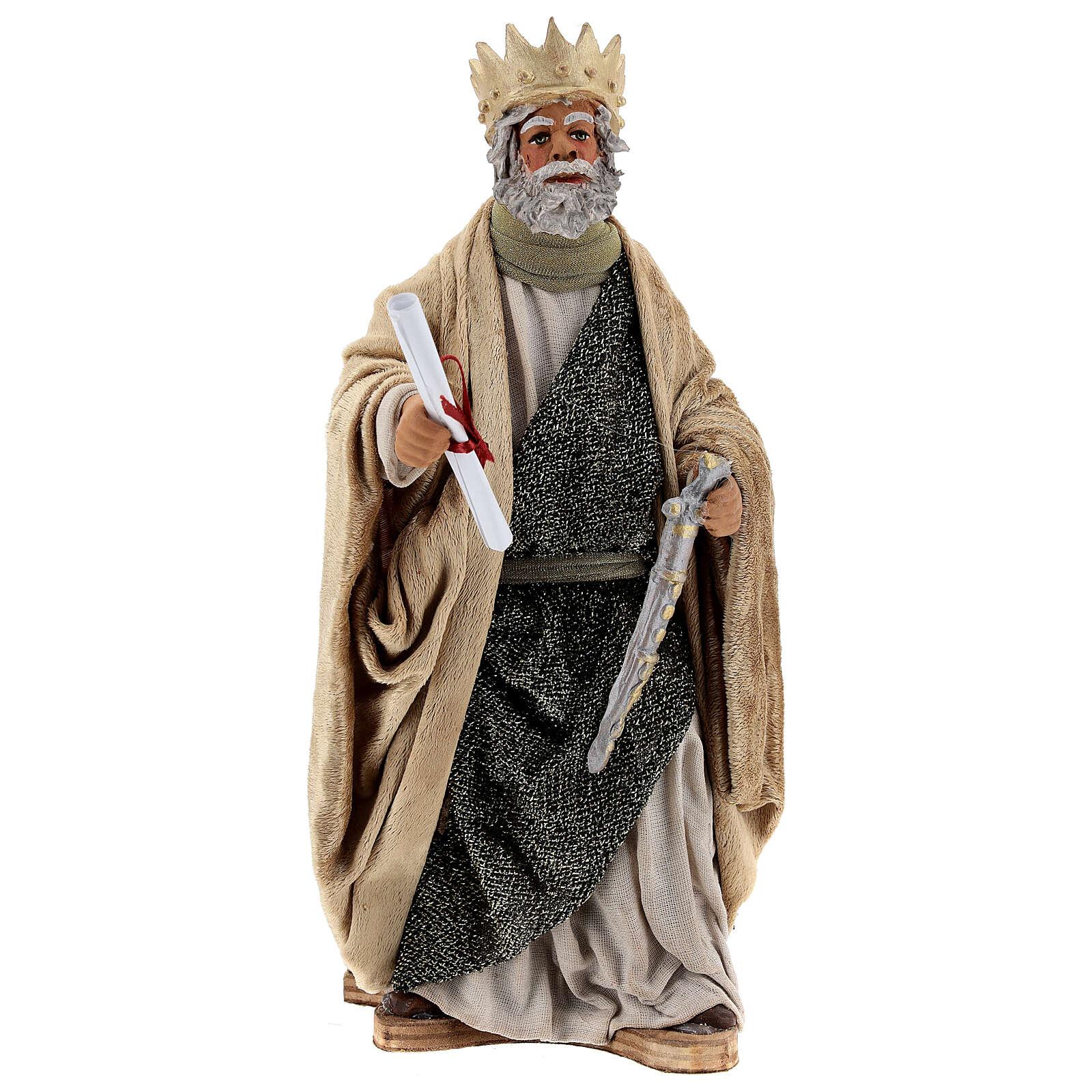 Roi Hérode mouvement crèche Naples 24 cm 4