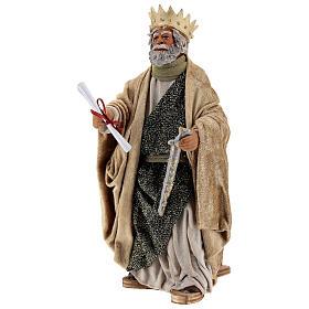 Rei Herodes movimento presépio napolitano com figuras altura média 24 cm s3
