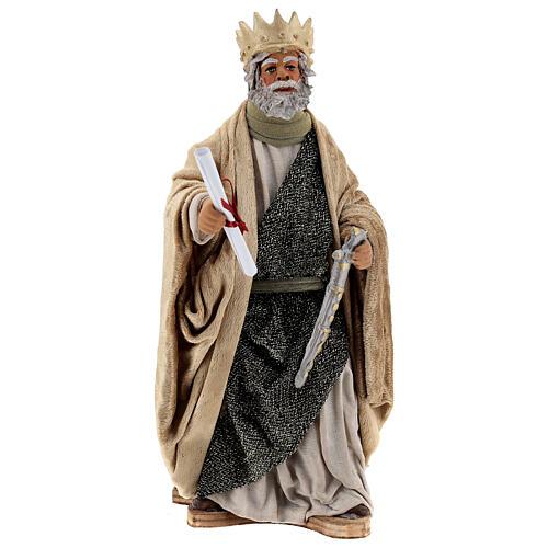 Rei Herodes movimento presépio napolitano com figuras altura média 24 cm 1