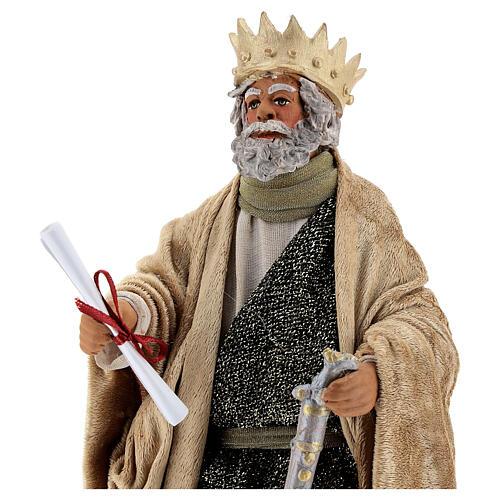 Rei Herodes movimento presépio napolitano com figuras altura média 24 cm 2