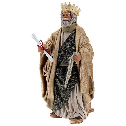 Rei Herodes movimento presépio napolitano com figuras altura média 24 cm 3