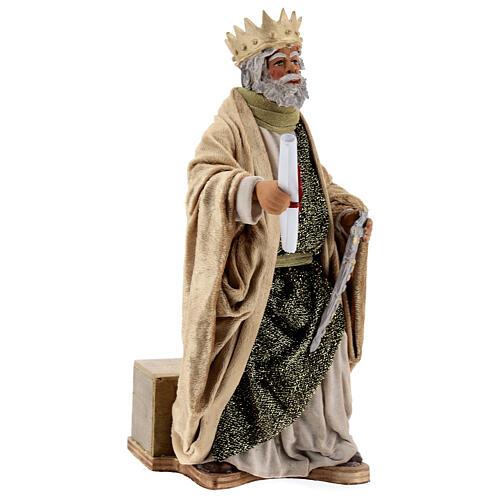 Rei Herodes movimento presépio napolitano com figuras altura média 24 cm 4
