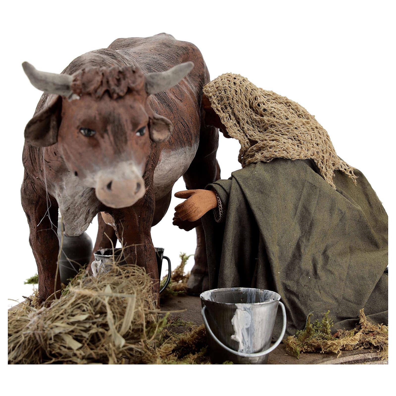 Man milking cow animated statue, 14 cm Naples 4