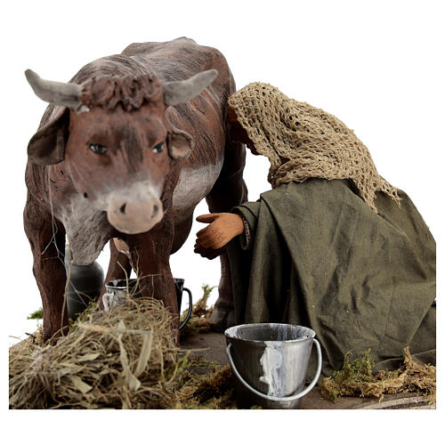 Man milking cow animated statue, 14 cm Naples 2