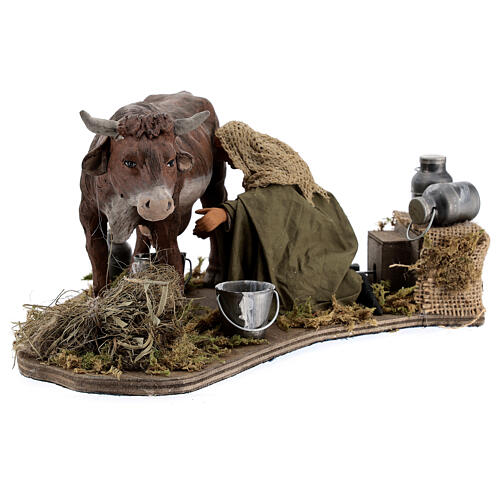 Man milking cow animated statue, 14 cm Naples 3