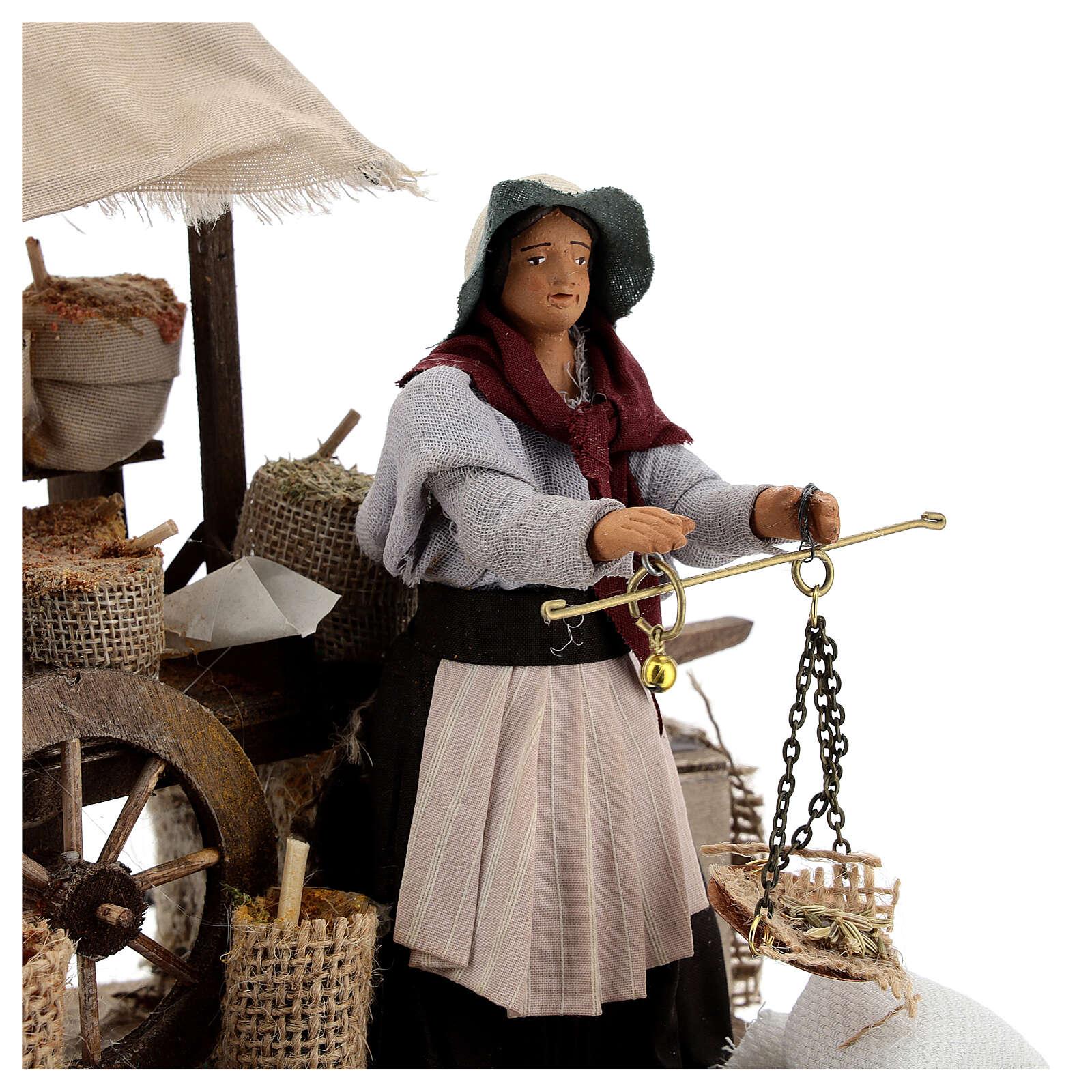 Vendedora de especiarias movimento para presépio napolitano com figuras altura média 12 cm 4