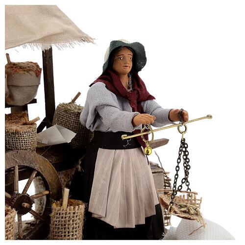 Vendedora de especiarias movimento para presépio napolitano com figuras altura média 12 cm 2
