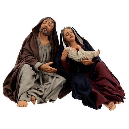 Sagrada Família dormindo para presépio napolitano com figuras de altura média 30 cm 1