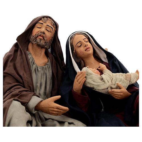 Sagrada Família dormindo para presépio napolitano com figuras de altura média 30 cm 2