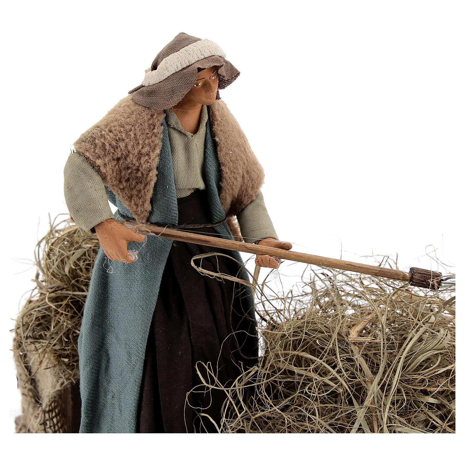Animated farmer figure, 14 cm Neapolitan nativity 4