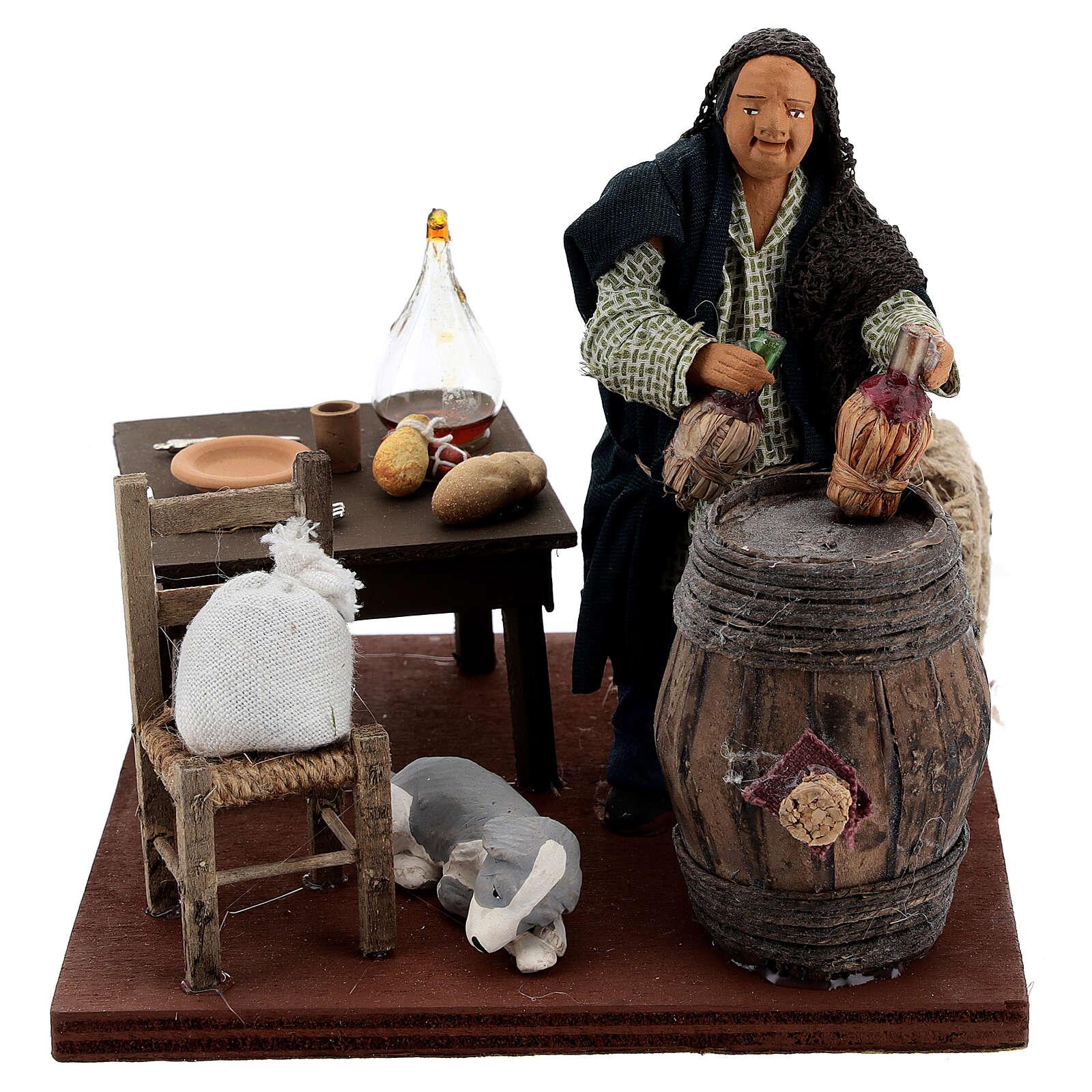 Drunkard in a tavern animated nativity 12 cm 4