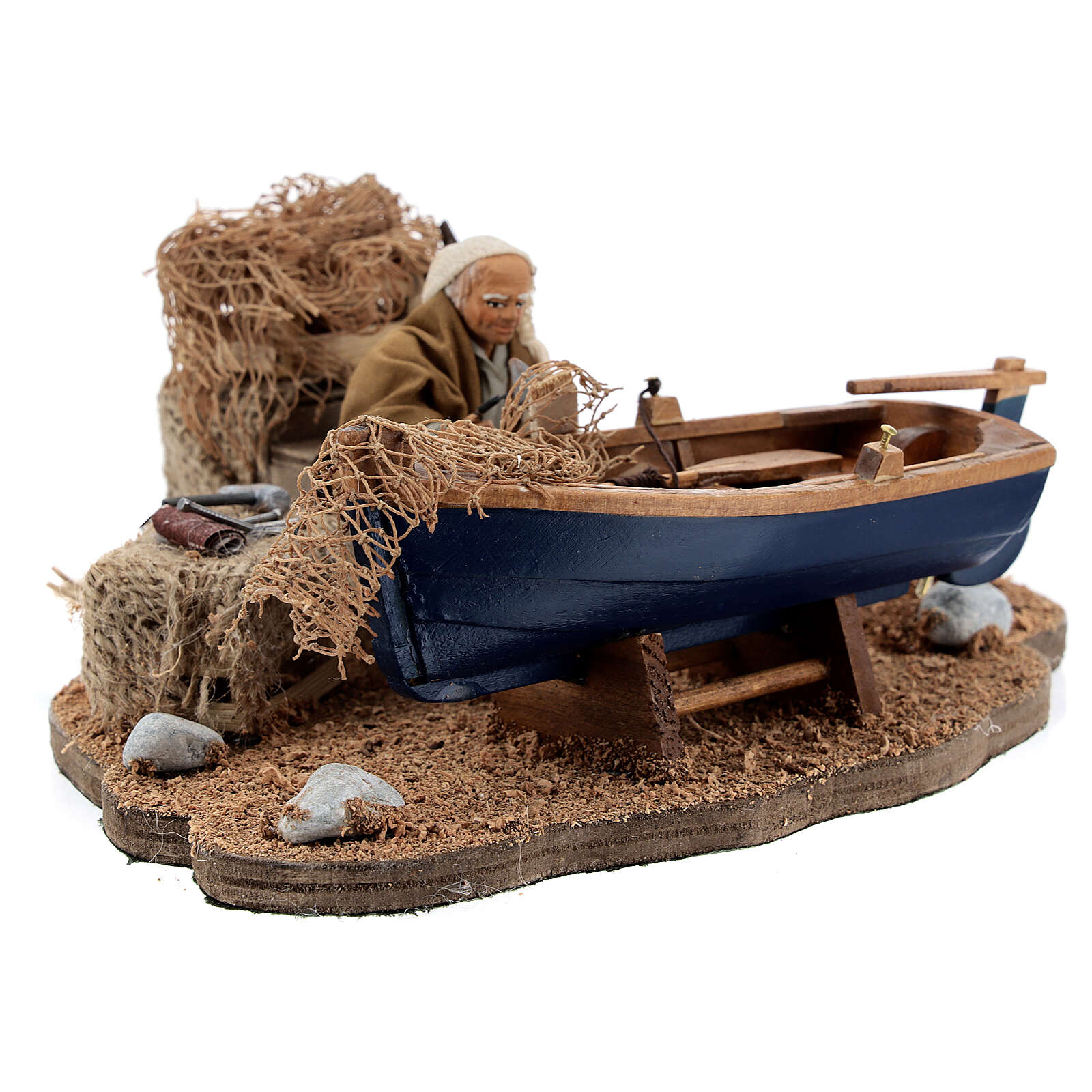 Man repairing boat, animated Neapolitan nativity 10 cm 4