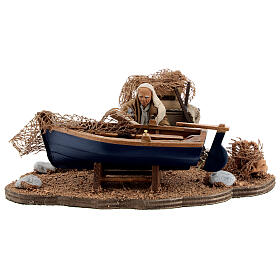 Man repairing boat, animated Neapolitan nativity 10 cm s1
