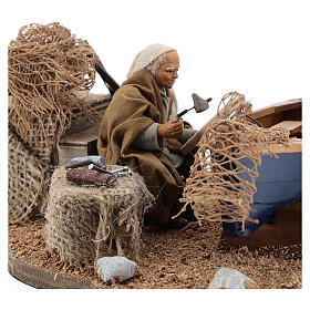 Man repairing boat, animated Neapolitan nativity 10 cm s2