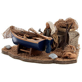 Man repairing boat, animated Neapolitan nativity 10 cm s4