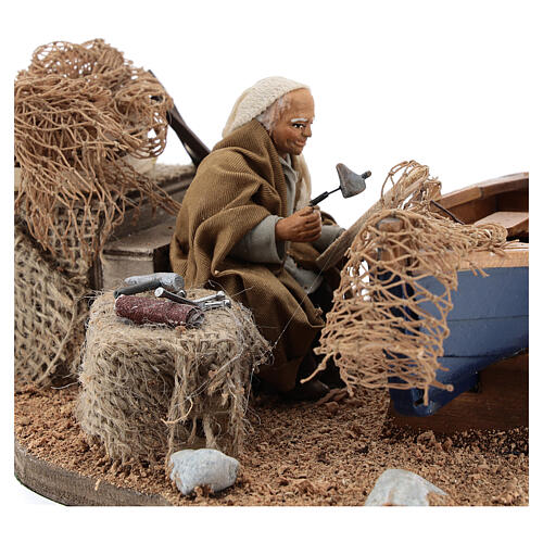 Man repairing boat, animated Neapolitan nativity 10 cm 2
