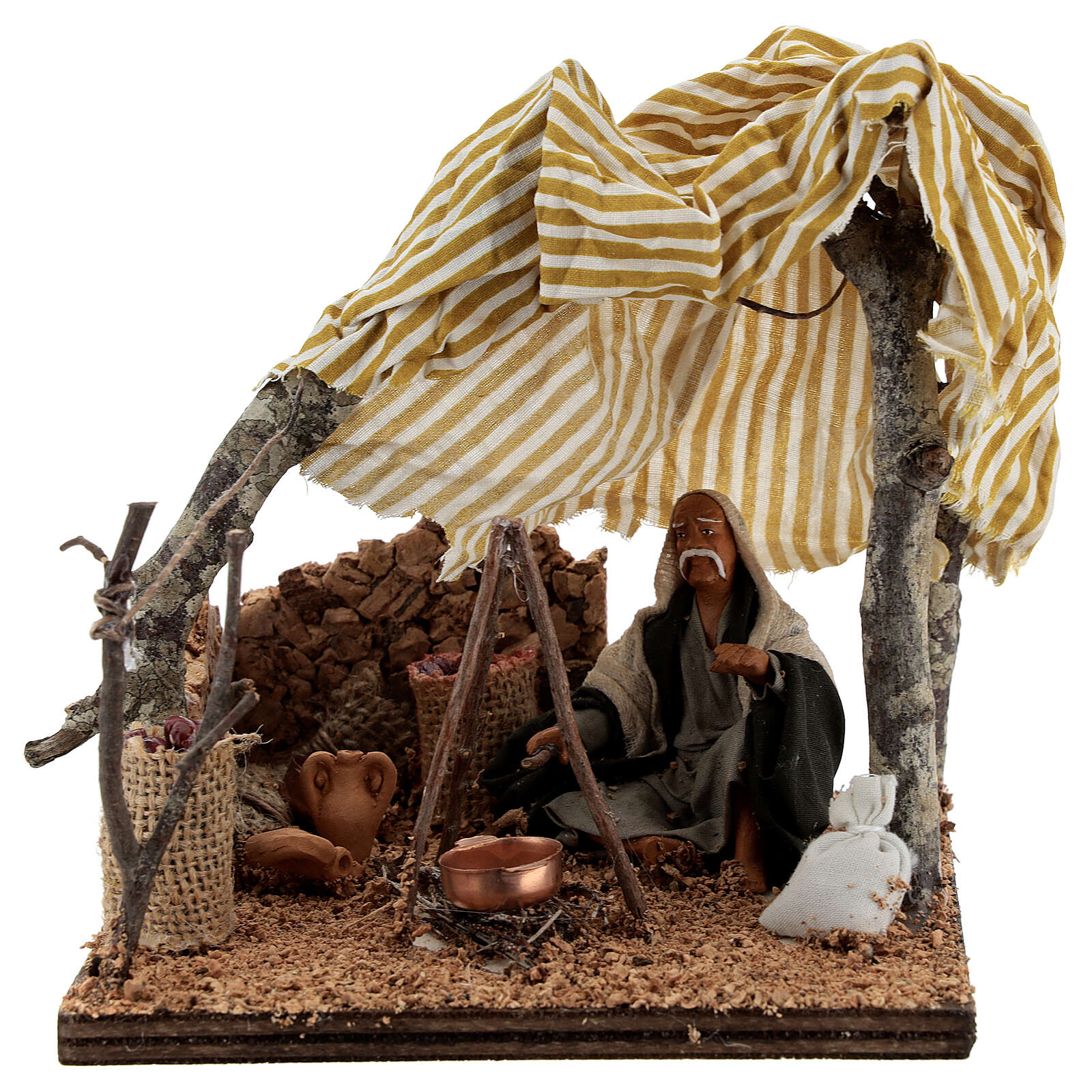 Man with bivouac, 10 cm Neapolitan nativity 4
