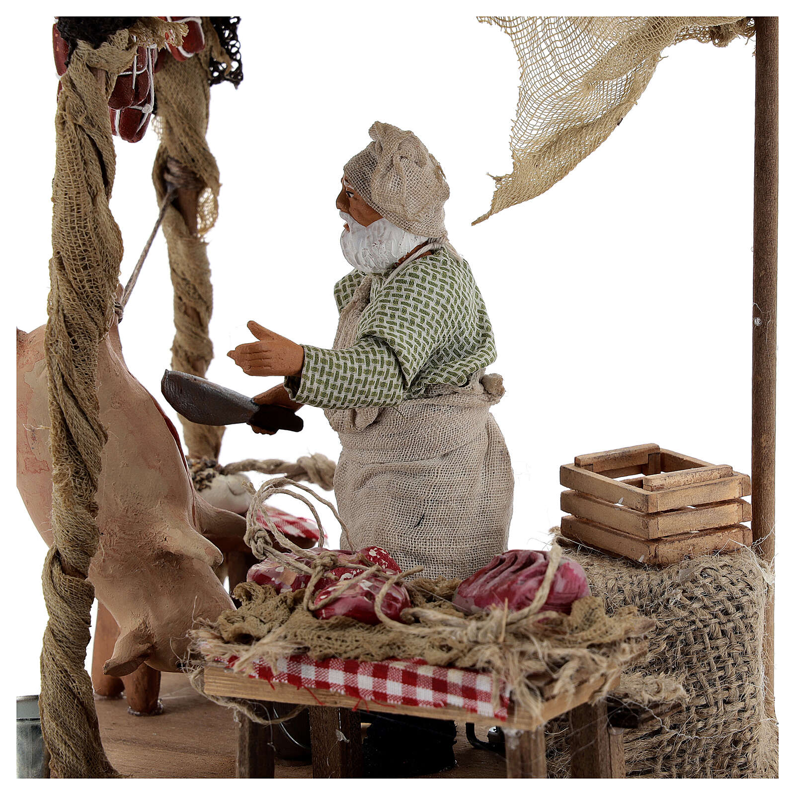 Butcher with shop animated Naples nativity 12 cm 4