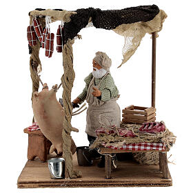 Butcher with shop animated Naples nativity 12 cm s1