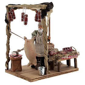 Butcher with shop animated Naples nativity 12 cm s4