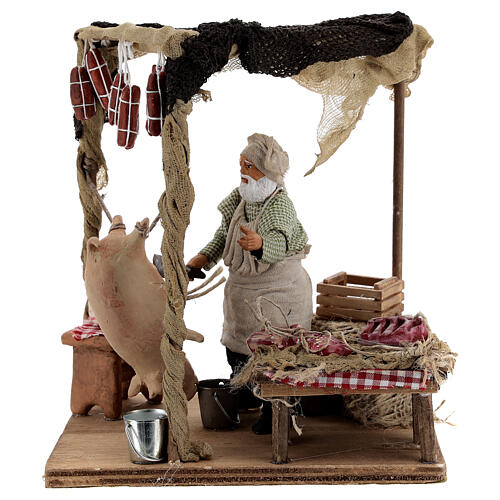 Butcher with shop animated Naples nativity 12 cm 1