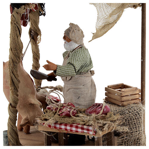 Butcher with shop animated Naples nativity 12 cm 2