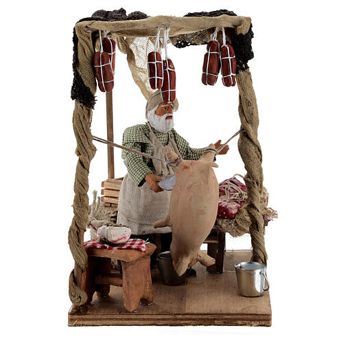 Butcher with shop animated Naples nativity 12 cm 3