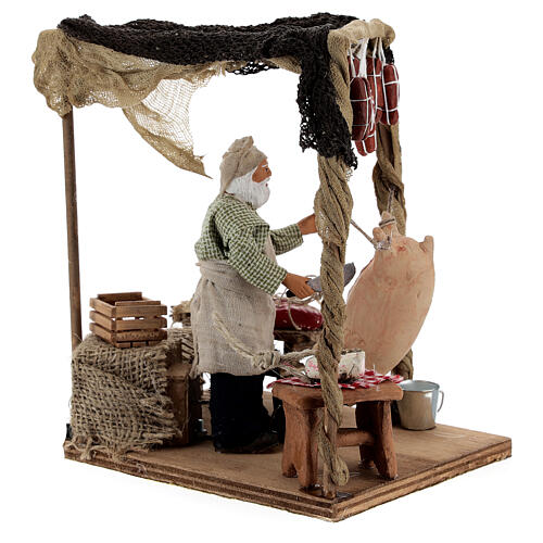 Butcher with shop animated Naples nativity 12 cm 5