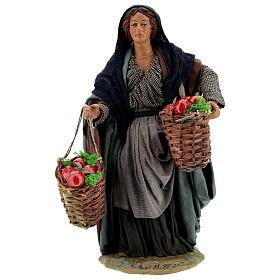 Woman with apples Neapolitan Nativity scene movement 24 cm s1
