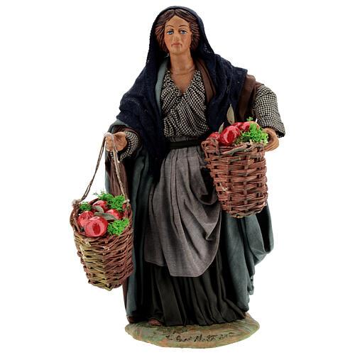 Woman with apples Neapolitan Nativity scene movement 24 cm 1