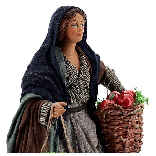 Woman with apples Neapolitan Nativity scene movement 24 cm 2