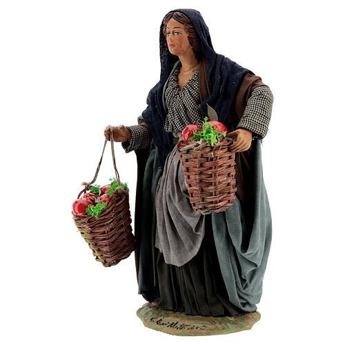 Woman with apples Neapolitan Nativity scene movement 24 cm 3