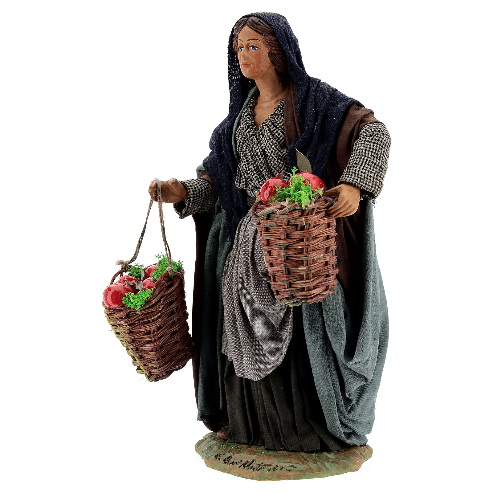 Femme avec pommes crèche napolitaine 24 cm 4