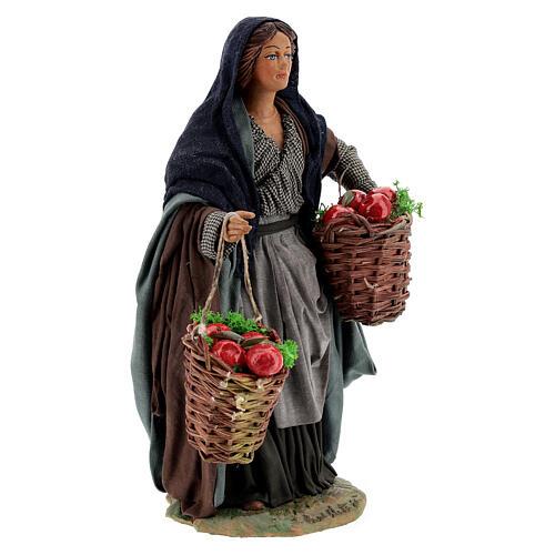 Donna con mele presepe napoletano 24 cm 4