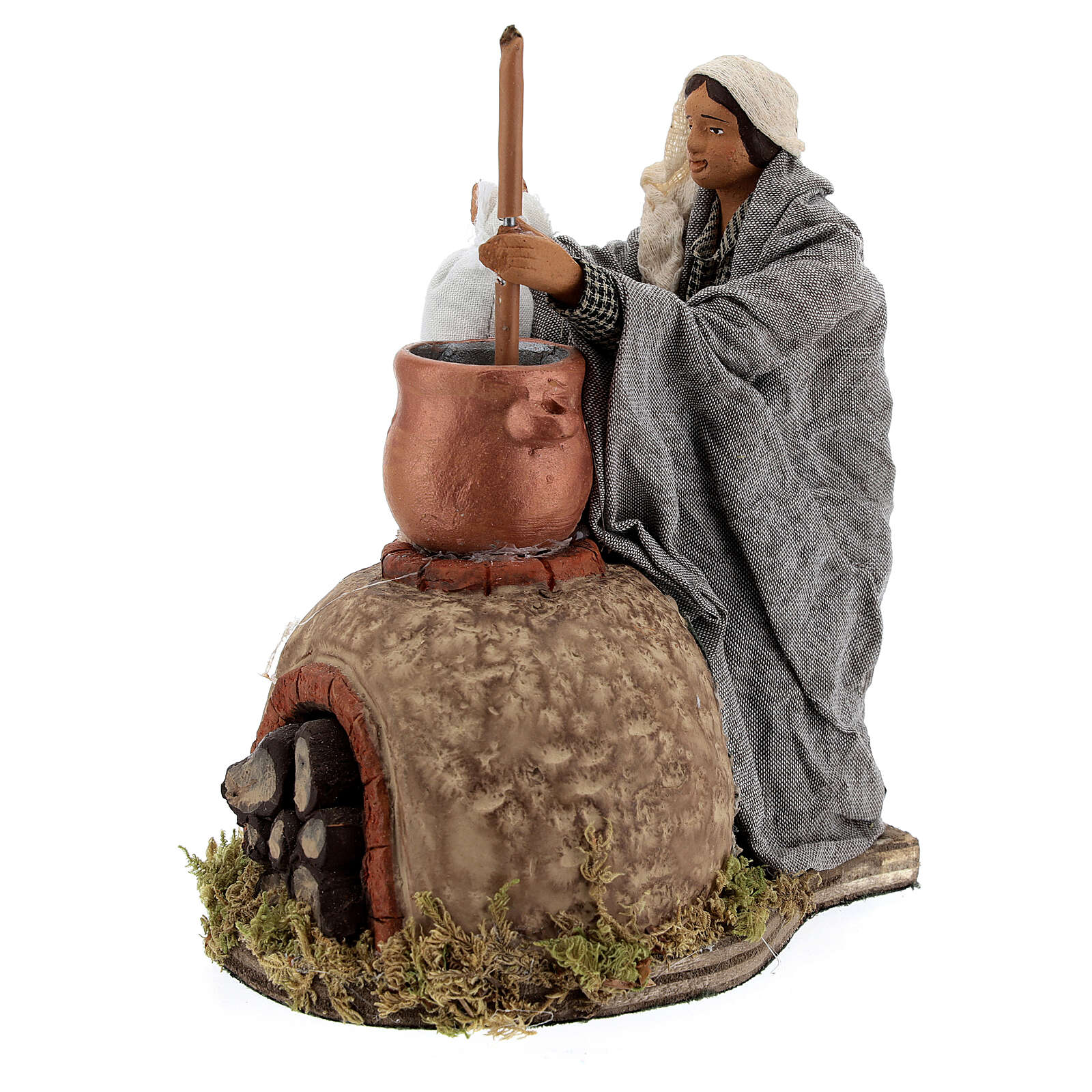 Animated Polentaia figure, 24 cm Neapolitan nativity 4