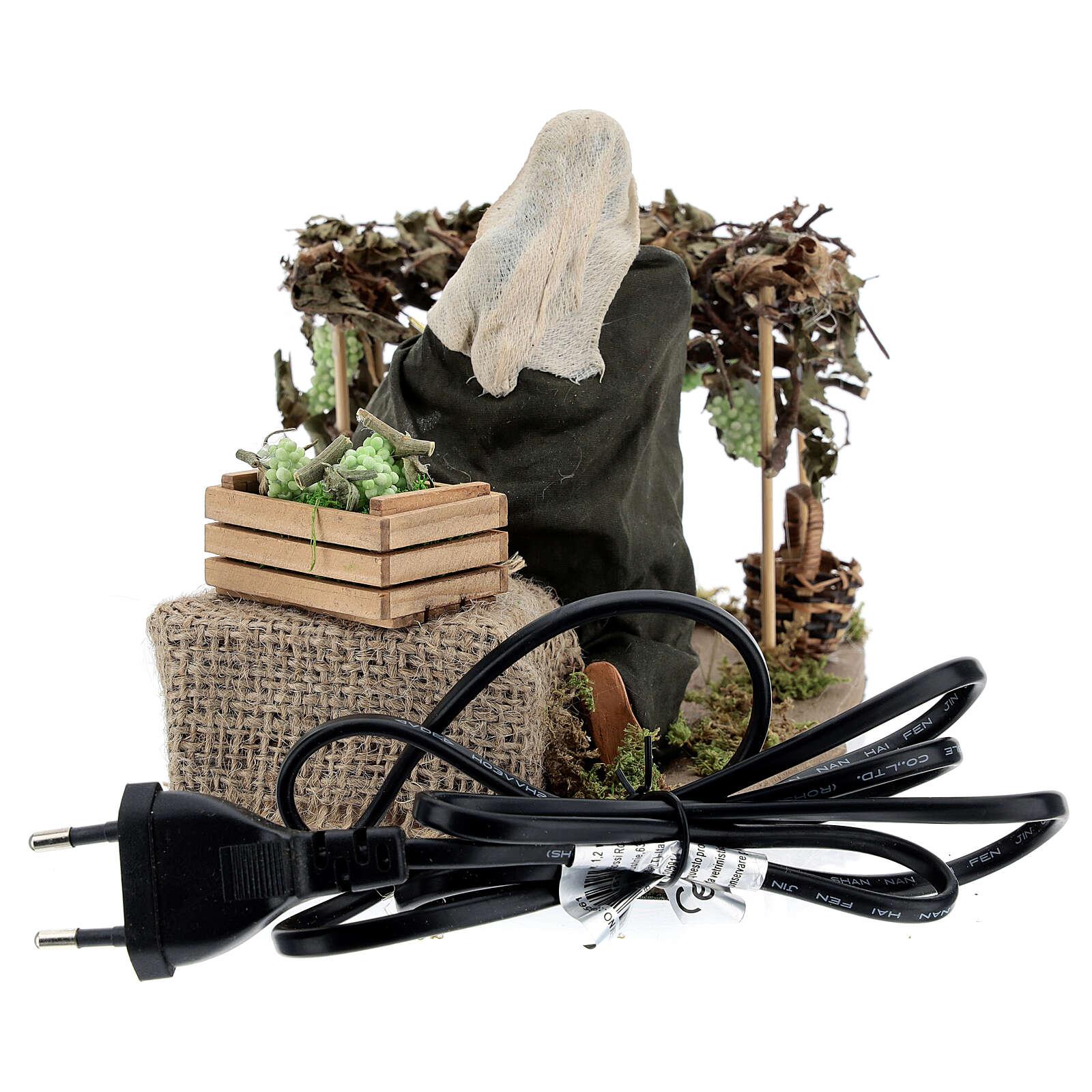 Woman picking grapes, animated Neapolitan nativity 14 cm 4