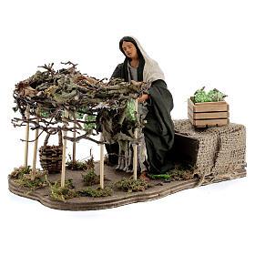 Woman picking grapes, animated Neapolitan nativity 14 cm s3