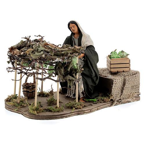 Woman picking grapes, animated Neapolitan nativity 14 cm 3