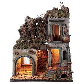 Maison avec étable 50x30x40 cm crèche Naples 12 cm s1
