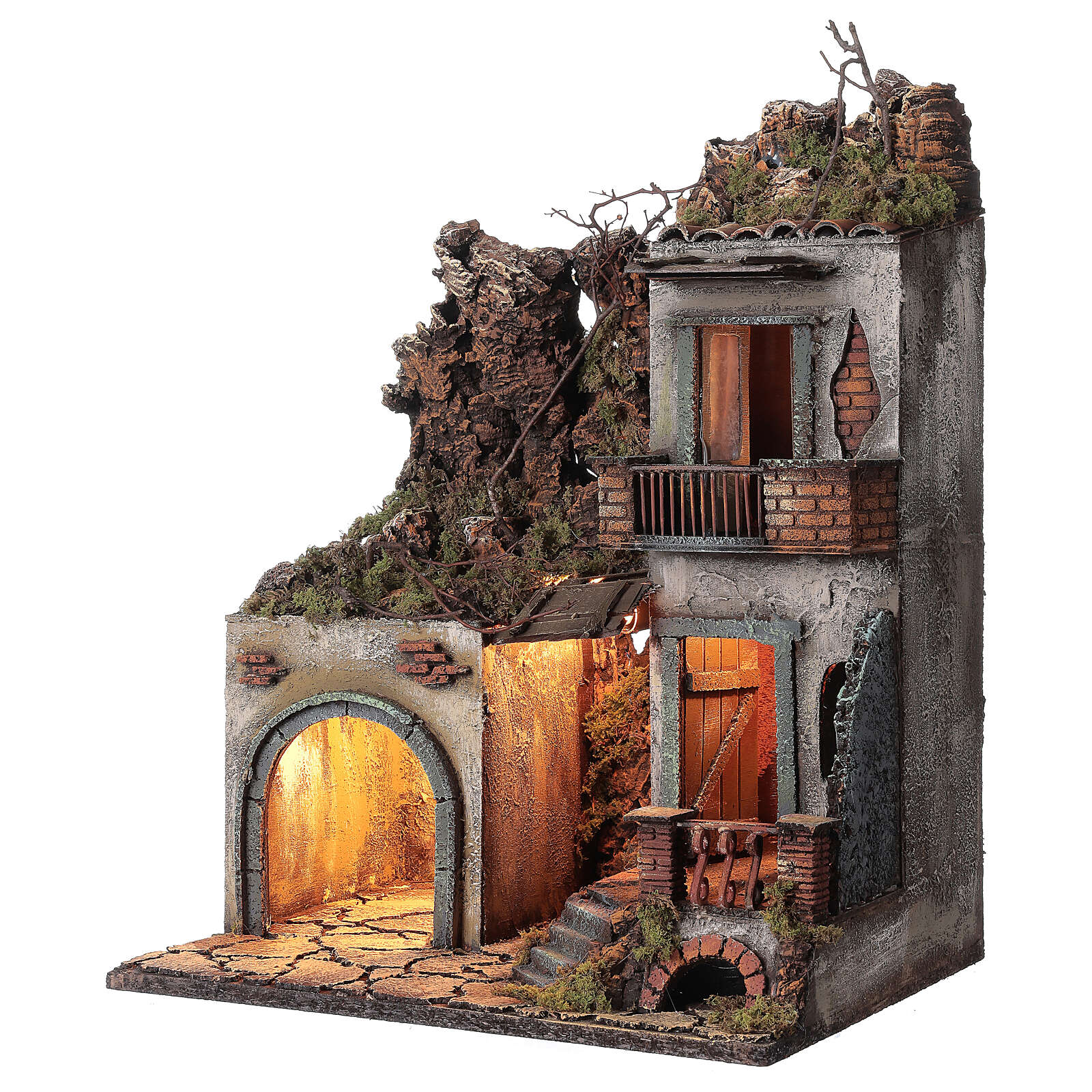 House with stable and balcony 50x30x40 cm Neapolitan Nativity Scene with 12 cm figurines 4