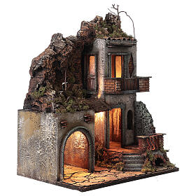 House with stable and balcony 50x30x40 cm Neapolitan Nativity Scene with 12 cm figurines s3