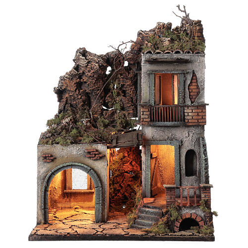 House with stable and balcony 50x30x40 cm Neapolitan Nativity Scene with 12 cm figurines 1