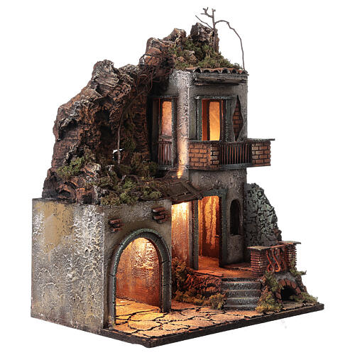 House with stable and balcony 50x30x40 cm Neapolitan Nativity Scene with 12 cm figurines 3