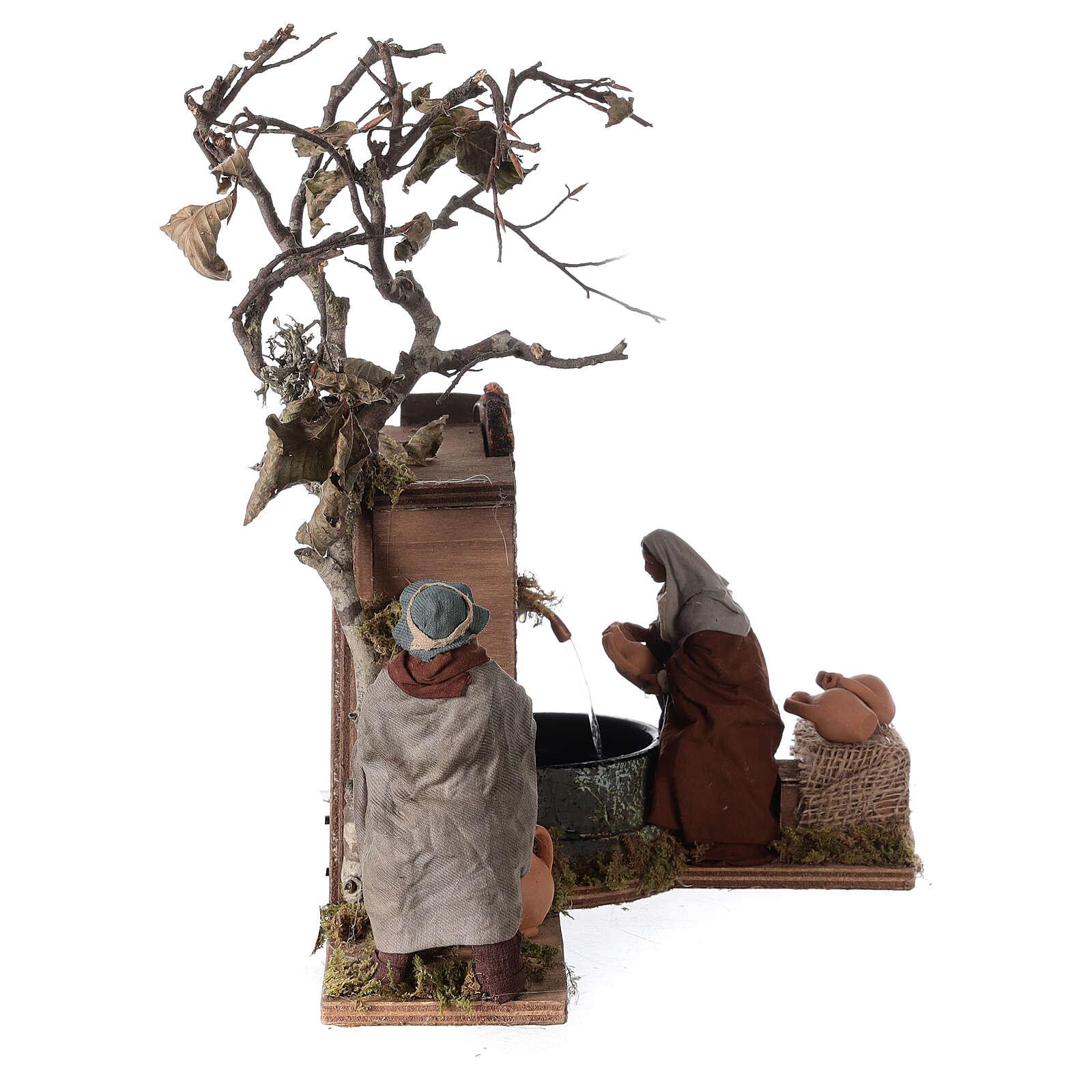 Mouvement couple près d'une fontaine Naples crèche 12 cm 4