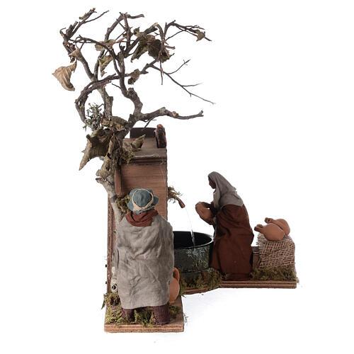 Mouvement couple près d'une fontaine Naples crèche 12 cm 5