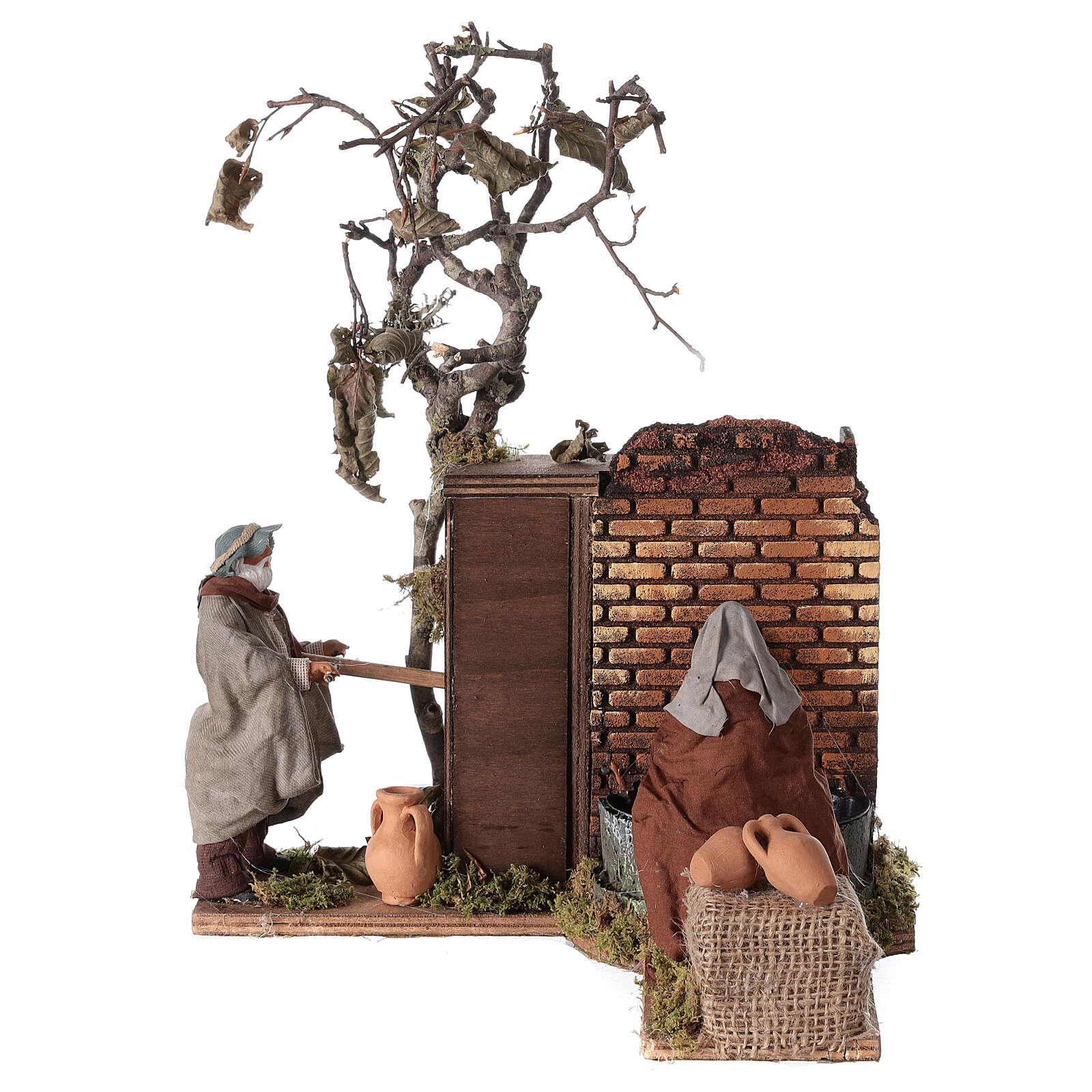 Casal na fonte movimento para presépio napolitano com figuras de altura média 12 cm 4