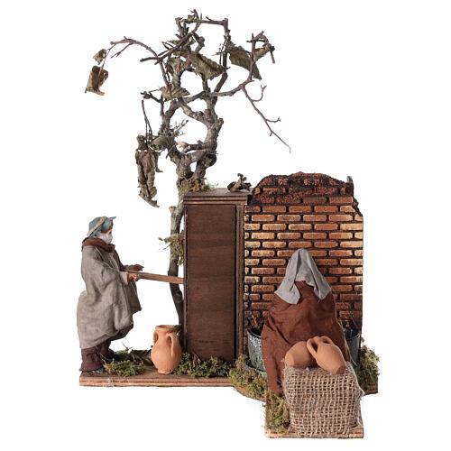 Casal na fonte movimento para presépio napolitano com figuras de altura média 12 cm 1
