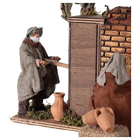 Moving couple at the fountain Neapolitan nativity 12 cm s2