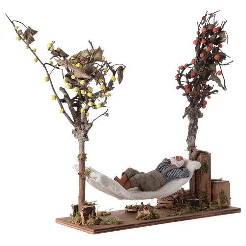 Man on hammock Neapolitan Nativity scene movement 14 cm 3